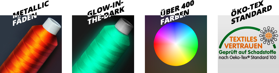 Metallicfäden, Glow-in-the-Dark, über 400 Farben, Ökotex-Standard